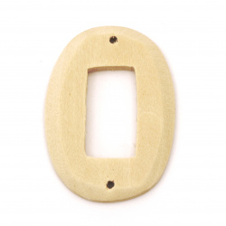 Wooden Connector for decoration oval 47x34x5 mm hole 2 mm color wood - 2 pieces
