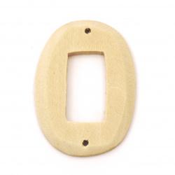 Element de legatura din lemn pentru decor oval 47x34x5 mm gaura 2 mm culoare lemn -2 piese