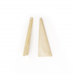 Unfinished wooden triangle pendant for decoration 54x20x4 mm hole 1 mm - 5 pieces
