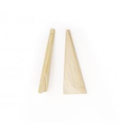 Висулка дърво за декорация триъгълник 54x20x4 мм дупка 1 мм -5 броя