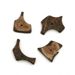 Мънисто кокос 13±18x20±30x3±3.5 мм дупка 1±1.5 мм цвят кафяв - 20 грама