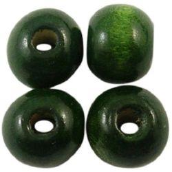 Margel rotund din lemn pentru decorare gaură 18x20 mm 4 mm verde închis - 50 grame ~ 20 bucăți
