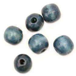 Мънисто дърво мънисто дърво топче 18x20 мм дупка 4 мм синьо -50 грама ~20 броя