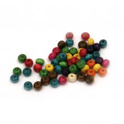 Мънисто дърво топче 5x6~7 мм дупка 2 мм микс -50 грама ~650 броя