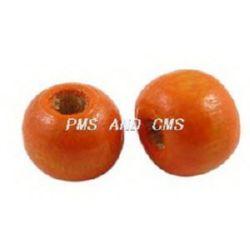 Топче дърво 6x7 мм дупка 3 мм оранжево тъмно -50 грама ~450 броя