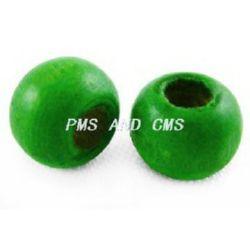 Мънисто дърво топче 6x7 мм дупка 3 мм зелено -50 грама ~450 броя