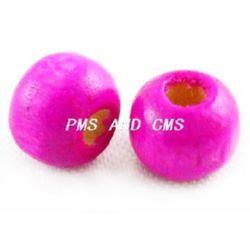 Мънисто дърво топче 6x7 мм дупка 3 мм розово тъмно -50 грама ~450 броя