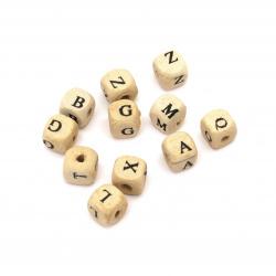 Κύβος με γράμματα, χάντρα, ξύλο 10x10 mm τρύπα 2 mm λευκό -20 γραμμάρια ~ 50 τεμάχια