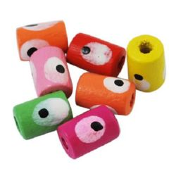 Wooden cylinder bead with eye 10x7 mm hole 3 mm - 20 grams ~ 108 pieces
