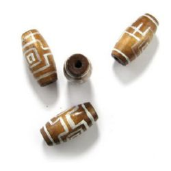 Painted wooden cylinder oval bead 40x19 mm hole 6 mm brown - 6 pieces