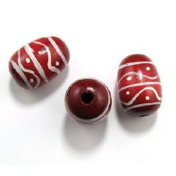 Cylinder wood oval painted 40x28 mm hole 6 mm red -5 pieces