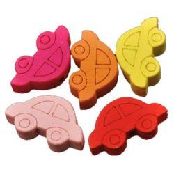 Figurină din lemn auto 11x20x4 mm gaură 2 mm colorate -10 bucăți