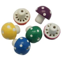 Natural Wooden Beads, Mushroom, Dyed, Assorted colors 18x20 mm, hole 3 mm - 2 pieces
