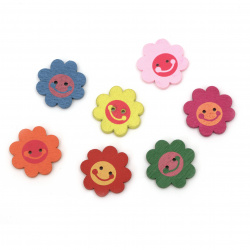 Natural Wooden Beads, Flower, Dyed, Assorted colors 22x5 mm, hole 2 mm - 10 pieces