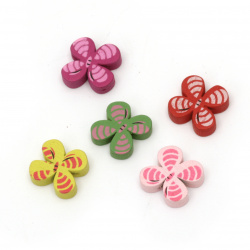 Natural Wooden Beads, Flower, Dyed, Assorted colors 14.5x15x8 mm, hole 2 mm - 20 pieces