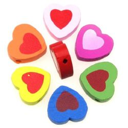 Natural Wooden Beads, Heart, Dyed, Assorted colors 17x19x6 mm, hole 2 mm - 20 pieces