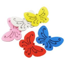 Colorful wooden pendant butterfly 47x34x2.5 mm hole 1.5 mm MIX - 10 pieces