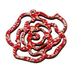 Wooden pendant ROSE 47x46x2 mm hole 1.5 mm red/white - 5 pieces