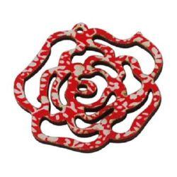 Pandantiv din lemn trandafir 47x46x2 mm gaură 1,5 mm roșu / alb -5 bucăți