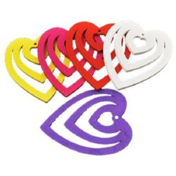 Colorful wooden pendant heart 41x49x2 mm hole 2 mm MIX - 10 pieces