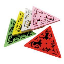 Wooden pendan triangle 65x58x3.5 mm hole 1.5 mm red - 5 pieces