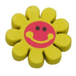Λουλούδι ξύλινη χάντρα 23x4 mm τρύπα 2 mm κίτρινο -5 τεμάχια