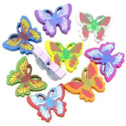 Painted wooden figurine butterfly 25x20x5 mm hole 2 mm  color - 20 pieces ~ 16 grams