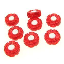 Мънисто с бяла основа цвете 10x4 мм дупка 2 мм червено и бяло -50 грама ~ 180 броя