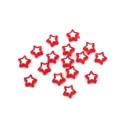 Мънисто с бяла основа звезда 9x4 мм дупка 1.5 мм червено -50 грама ~ 260