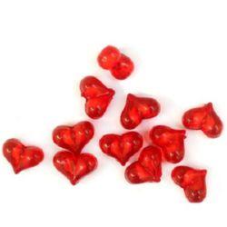 Мънисто с бяла основа сърце 16x12x9 мм дупка 2 мм червено -50 грама ~ 55 броя