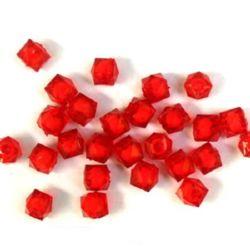 Мънисто с бяла основа многоъгълник 8x7 мм дупка 2 мм червено -50 грама ~ 210 броя
