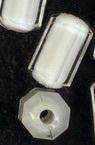 Мънисто с бяла основа цилиндър 14x8 мм дупка 2 мм многостенно прозрачно -50 грама ~ 60 броя