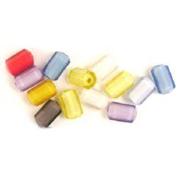 Margele  bază albă cilindru 14x8 mm gaură 2 mm multi-pereți MIX -50 grame ~ 60 bucăți