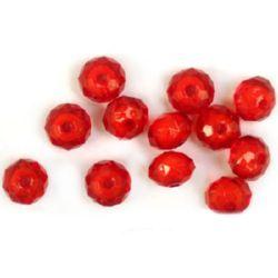 Мънисто с бяла основа овал 12x8 мм червен с бяло