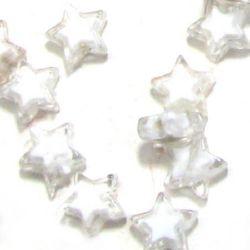 Мънисто с бяла основа звезда 9 мм бяло -50 грама