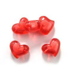 Мънисто с бяла основа сърце 34x27x20 мм дупка 3.5 мм червено -50 грама -5 броя