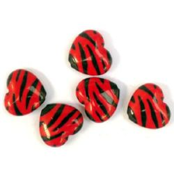 Two-color bead heart  20x17x6 mm red and black - 30 grams