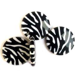 Мънисто двуцветно кръгче 30x6 мм черно и бяло -30 грама