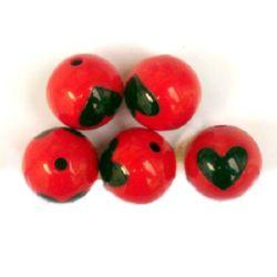 Bile color margele, cu o inimă de 15 mm roșu și negru -31 grame