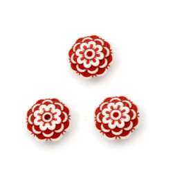 Two-color flower bead 14x7 mm hole 2 mm white and red - 50 grams ~ 75 pieces