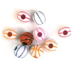 Two-color bead ball basketball 12mm hole 3.5mm MIX - 50 grams ~60 pieces