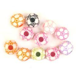 Мънисто двуцветно топче футбол 12 мм дупка 3.5 мм МИКС -20 грама ~ 25 броя