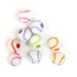 Two-colored bead tennis ball 12 mm hole 3.5 mm MIX - 50 grams