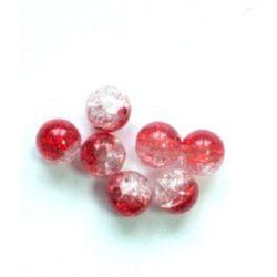 Мънисто кракъл топче 8 мм дупка 2 мм бяло червено -20 грама ~65 броя