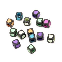 Two-color Bead cube with heart 6x6 mm hole 3 mm black -20 grams ~ 105 pieces