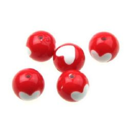 Two-color Bead  ball with a heart 16 mm hole 2.3 mm white and red - 50 grams