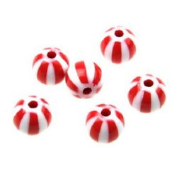 Two-color bead ball 12 mm white and red - 50 grams