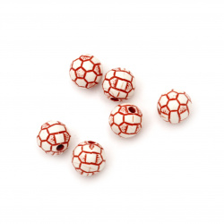 Two-color bead soccer ball 10mm hole 3mm white and red - 50 grams ~ 98 pieces