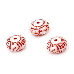 Мънисто двуцветно шайба 12.5x7 мм дупка 2 мм бяло и червено -50 грама ~73 броя