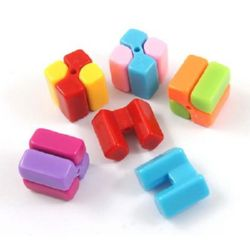 Acrylic modular solid beads for jewelry making, cube 17x17x17 mm hole 2.5 mm mixed colors - 10 sets